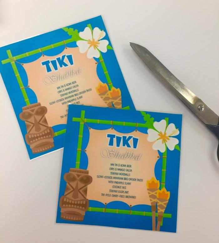 Tiki themed shabbat menu