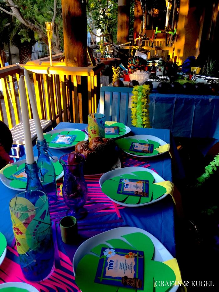 Tiki-Themed Shabbat Table