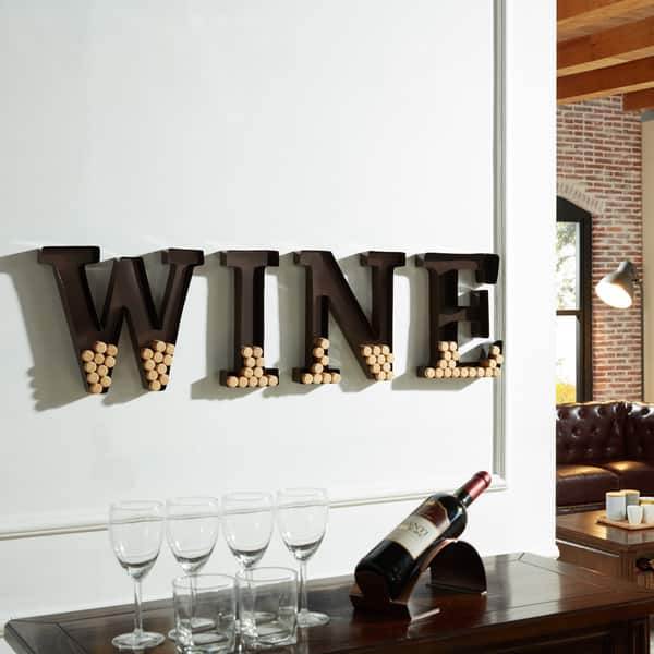 Overstock Danya B Metal Wall Mount 'Wine' Letters Cork Holder
