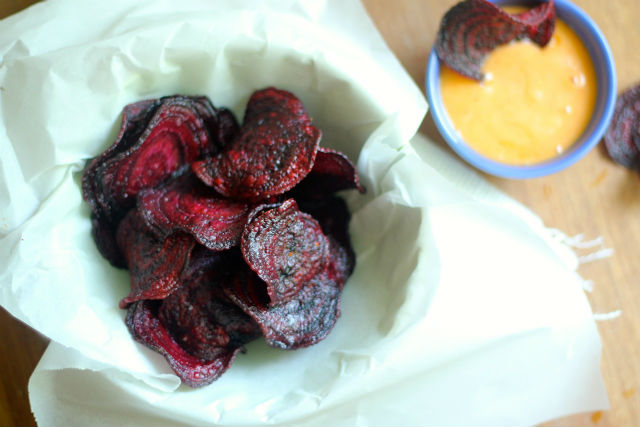 Beet Chips with Spicy Honey Mayo Dip