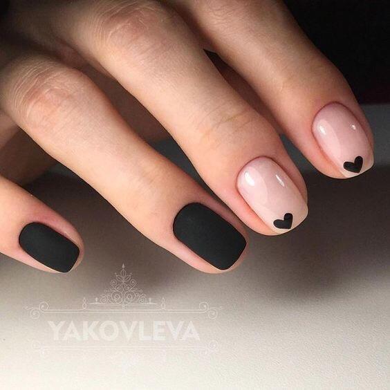 Valentines Day Nails Black Heart | Crafts & Kugel
