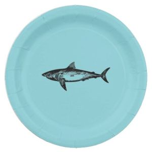 Shark Themed Plates for Shark Week Party | Crafts and Kugel
