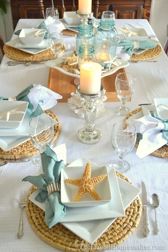 Coastal Themed Shabbat Dinner Table Setting | Crafts & Kugel