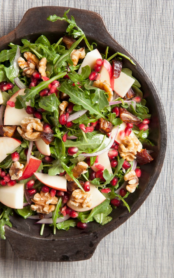Pomegranate apple and date salad for apple-themed Rosh Hashanah Dinner | Crafts and Kugel